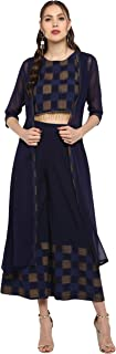 Janasya Women's Navy Blue Crepe Top With Palazzo And Jacket