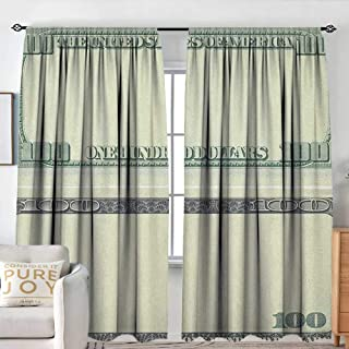 NUOMANAN Bathroom Curtains Money,Hundred Dollar Bill Century Note Design American Currency Style Frame Pattern, Pale Green Grey,Drapes Thermal Insulated Panels Home décor 72