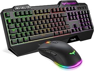 havit ゲーミングキーボード LED バックライト有線 キーボード ゲームキーボードとマウスセット HV-KB558CM(黒い)