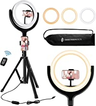 TaoTronics Ring Light with Tripod Stand 2 Phone Holders and Bluetooth Remote Shutter, 3 Lighting Modes, 10 Brightness Levels, Dimmable Led Camera Ring Light for Live Streaming, YouTube, Video, Make Up