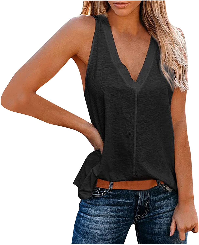 Womens Summer Tops Women Casual Short Sleeveless V-Neck Solid Loose T-Shirt Blouse Tops Vest Juniors Girls