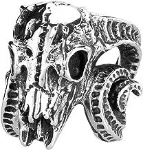 SAINTHERO Men's Vintage Gothic Stainless Steel Rings Worship Baphomet Ram Sheep Goat Head Horn Biker Rings Size 7-13