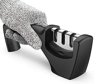 Afilador Cuchillo, Peakally Afilador con mango y Guante Resistente al Corte Afilador Manual con 3 Etapas Afilador profesional para Cuchills,Navajas,Cuchillo cerámica,Cocina
