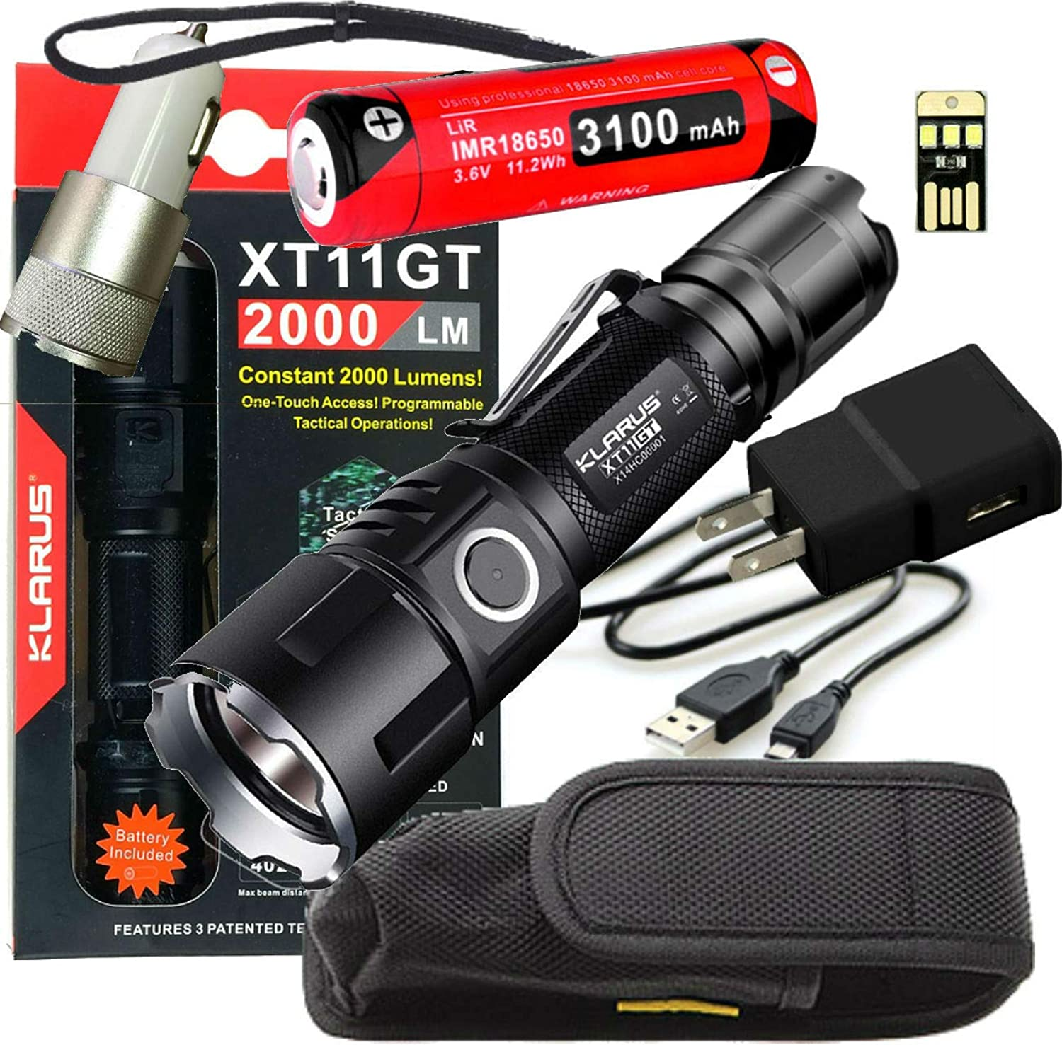 Klarus Upgraded XT11GT 2000 Lumens SUPER BUNDLE w  XT11GT LED Compact Rechargeable Tactical Flashlight, 18650 Battery, USB Cable, Lanyard, Holster, Pocket Clip, Car & Wall Adapter, and USB Mini Light