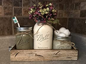 Ball Mason Jar BATHROOM SET Antique WHITE Tray ~Toothbrush, Quart Jar (flower optional) Cotton Ball Holder ~Canning JARS PAINTED Distressed Stainless Steel Silver Accessories Gray Blue Green Cream Tan