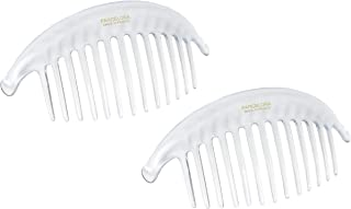 Parcelona French Alice Large Set of 2 Clear 13 Teeth Celluloid Acetate Interlocking Side Hair Combs
