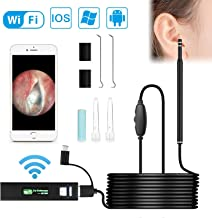Wireless Otoscope, VTOSEN WiFi Ear Endoscope 1.3MP Digital Ear Scope Inspection Camera with 6 Adjustable LEDs for Android and iPhone IOS Smartphone, Samsung, Tablet, Windows & Macbook OS Computer