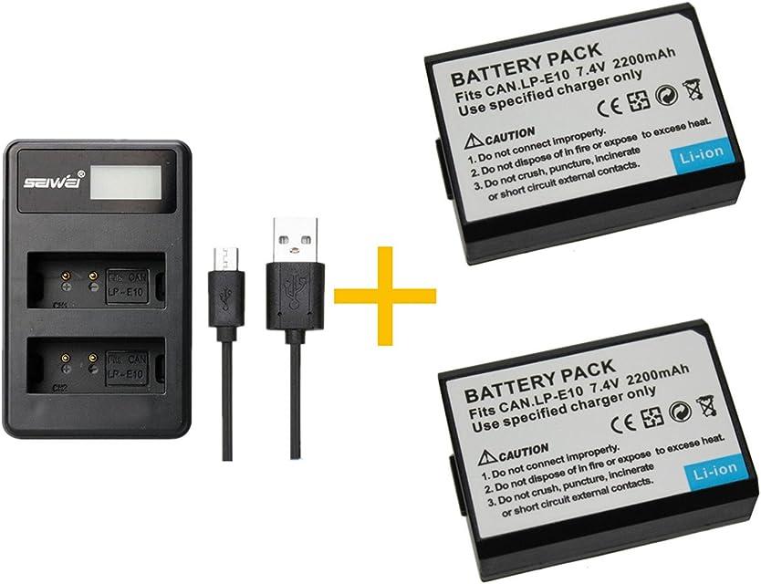 2 Piezas 2200mAH LP-E10 LPE10 Batería con Cargador de batería para Canon EOS Rebel T3 T5 T6 Kiss X50 Kiss X70 EOS 1100D EOS 1200D EOS 1300D (2 pcs Battery with Charger)