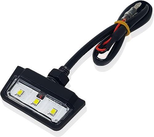 Éclairage de plaque minéralogique LED universel homologué E pour moto, quad, scooter, voiture, ATV, test d'eau IP67, ...
