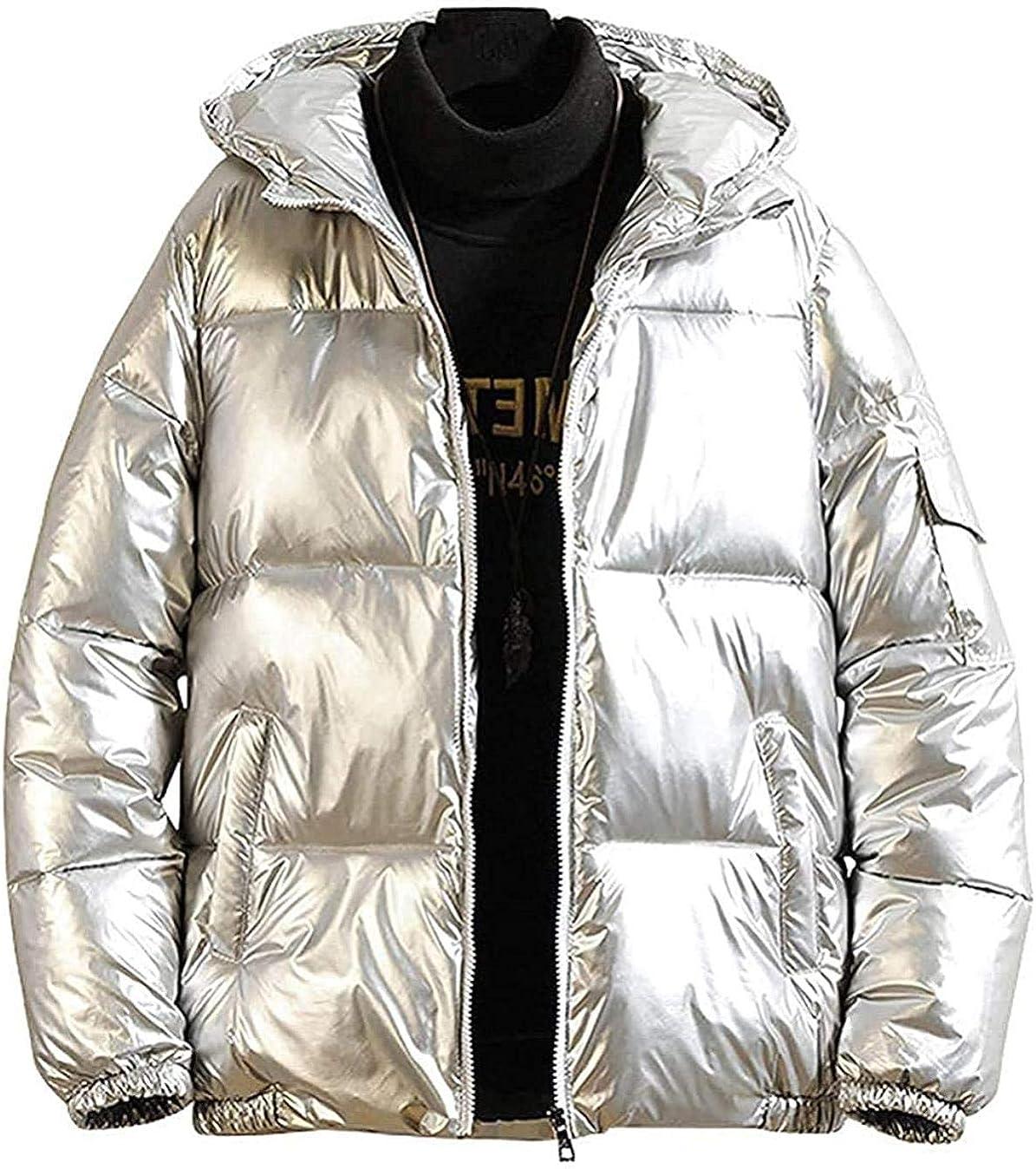 Men's Casual Hooded Full Zip Metallic Shiny Short Bomber Alternative Down Coat