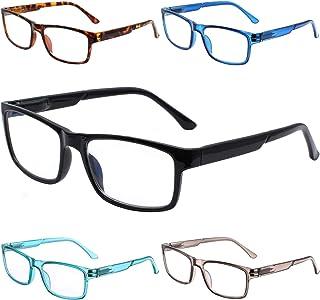 Henotin 5-Pack Reading Glasses Blue Light Blocking,Spring Hinge Readers Women Men Anti Eye Strain Glare UV Filter Eyeglasses