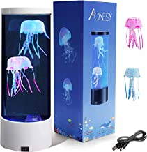 Electric Jellyfish Tank Table Lamp with 2 Silicone Jelly Fish, LED Lava Lamps with Color Changing Mood Lights Kids Night L...