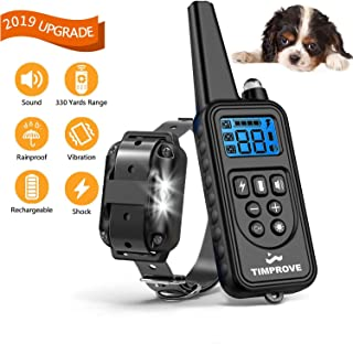TIMPROVE 330 Yards Range Remote Dog Training Collar, Rechargeable and IPX7 Rainproof Dog Shock Collar with Beep, Vibration and Shock, Electric Dog Collar for Puppy, Small, Medium and Large Dogs