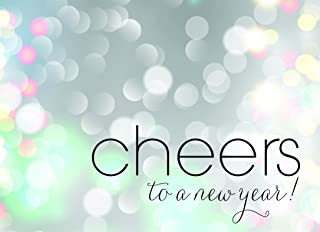New Year Greeting Cards - N1501. Greeting Cards with Cheers to the New Year on a Bubbly Background. Box set Has 25 Greeting Cards and 26 White with Silver Foil Lined Envelopes.