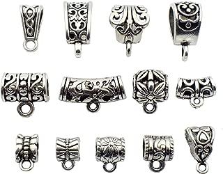 100g (about 75pcs) Mixed Antique Tibetan Silver Bail Tube Beads,Spacer Bead,Bail beads,Bead Hanger Fit Charm European Bracelet Pendant M27