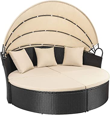 Homall Patio Furniture Outdoor Daybed with Retractable Canopy Wicker Furniture Sectional Seating with Washable Cushions for P