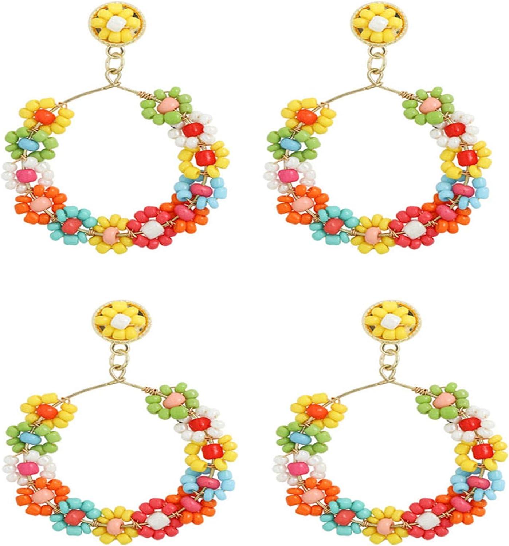 2Pairs Bohemian Resin Beads Seeds Flower Dangle Drop Earrings Set for Women Girl Boho Cute Handmade Rainbow Tassel Statement Beaded Earrings Lightweight Summer Beach Jewelry Gift