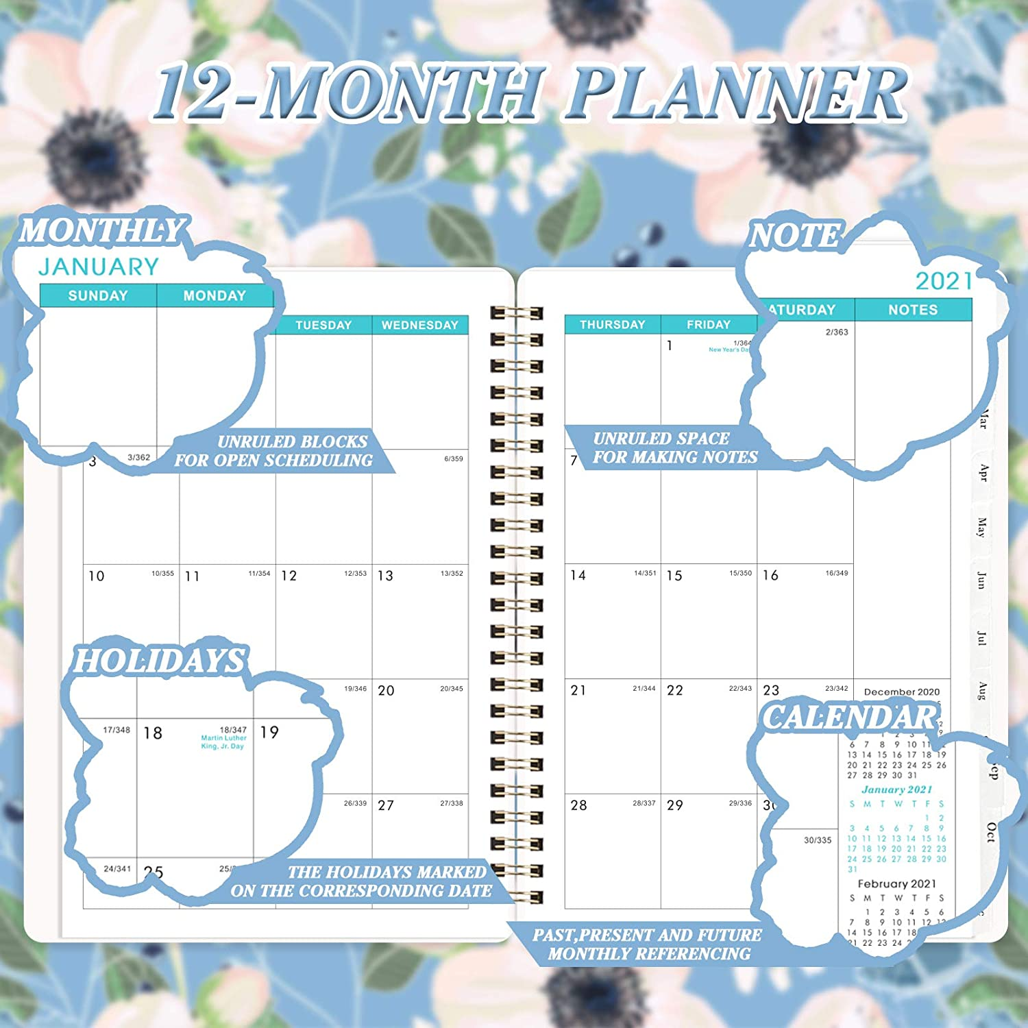 Contacts and Passwords Twin-Wire Binding Thick Paper 2021 Monthly Planner 6.3 x 8.4 - Dec Black by Artfan 2021 Jan 12-Month Planner with Tabs /& Pocket