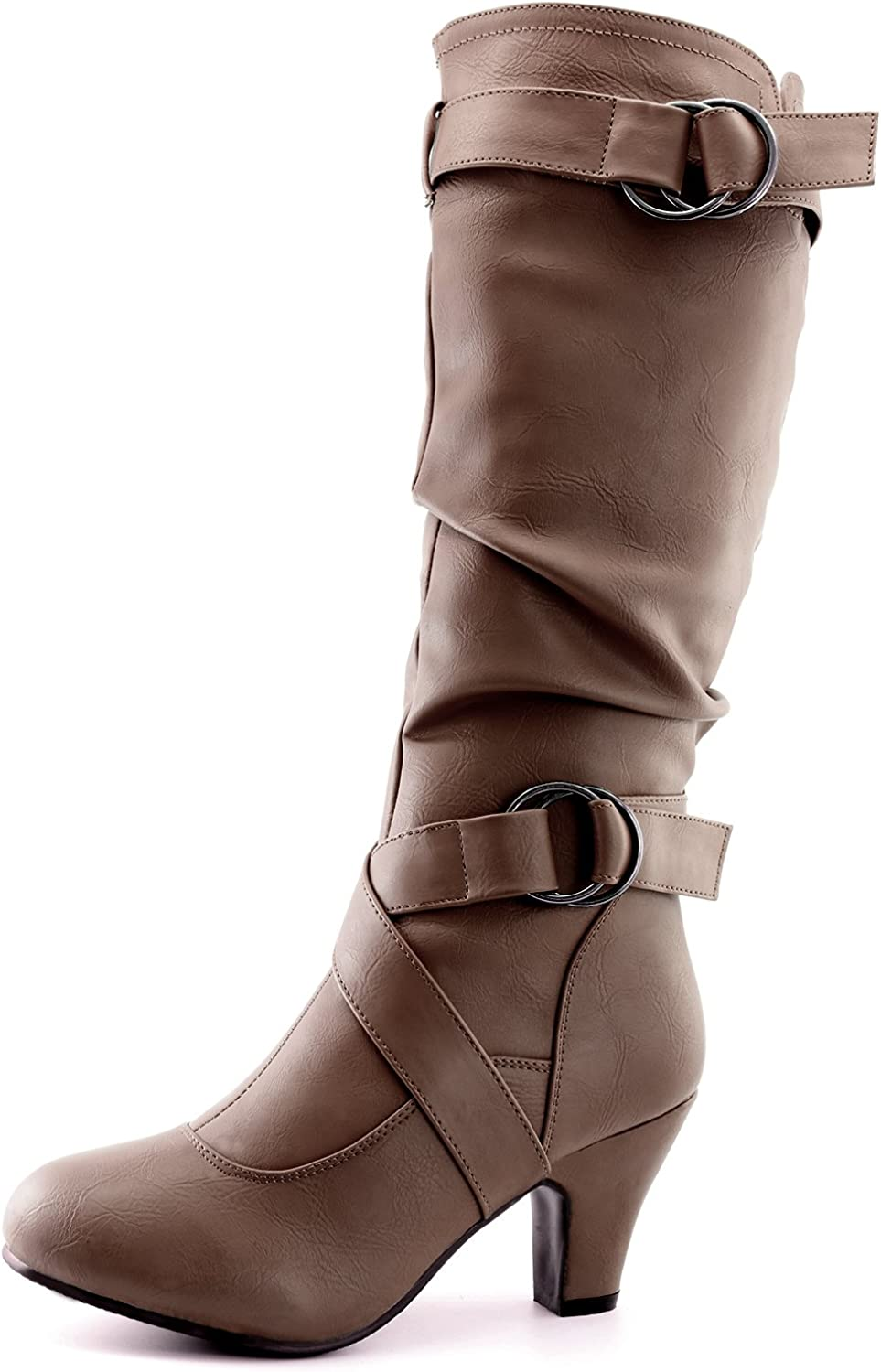 Dailyshoes Women's Mid Calf Ankle Strap Slouchy Fashion Boots, Taupe Pu, 11 B(M) US