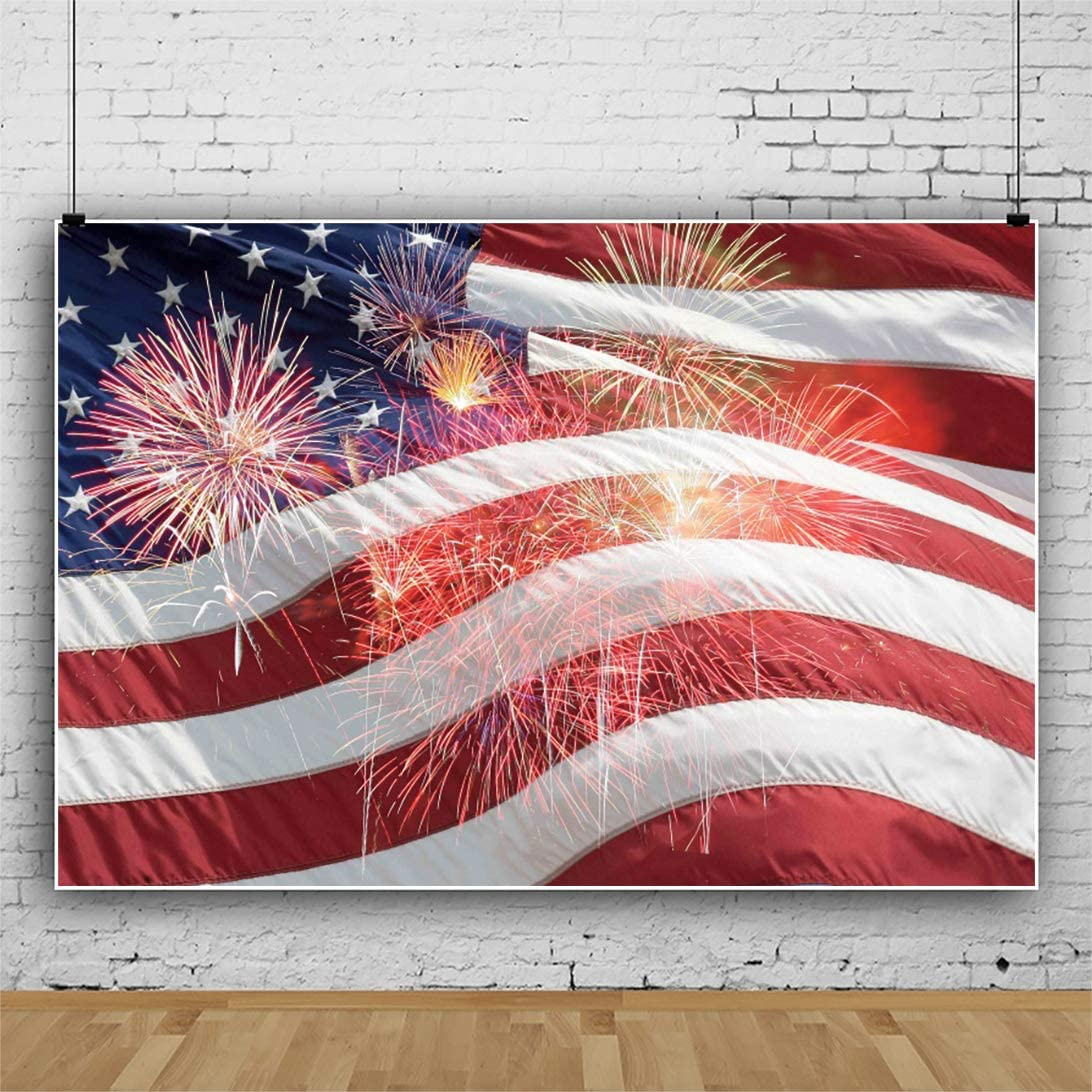 Leowefowa American New products world's highest quality At the price popular Flag Backdrop 9x6ft US Dazzling Saprklin