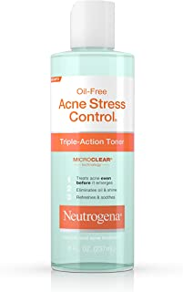 Neutrogena Oil-Free Acne-Fighting Stress Control Triple-Action Facial Toner, Soothing and Refreshing Toner with Salicylic Acid Acne Medicine, Green Tea, and Cucumber Extract, 8 fl. oz ( Pack of 5)