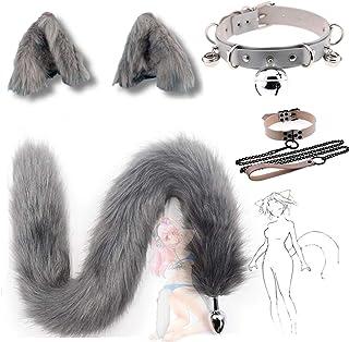 cadeau de fête spécial oreilles de chat artificielles en épingle à cheveux loup furry queue de renard Halloween cloche cou...