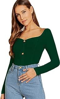 SweatyRocks Women's Sexy Slim Fit Striped Off Shoulder Long Sleeve T Shirt Tops Blouse