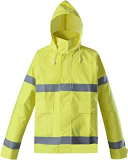 Brite Safety Style 5212 FR Safety Raingear - Hi Vis Jacket, Safety Jackets For Men Waterproof & Fire Resistant With High Visibility Hoodie, ANSI 107 Class 3 Compliant (2XL, Hi Vis Yellow)