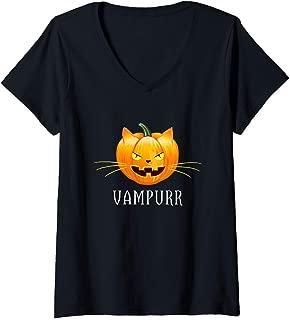 Womens Vampire Pumpkin Cat Vampurr Funny Halloween Kitty V-Neck T-Shirt