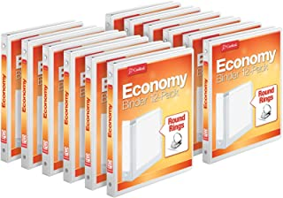 """Cardinal Economy 3-Ring Binders, 1/2"""", Round Rings, Holds 125 Sheets, ClearVue Presentation View, Non-Stick, White, Carton of 12 (90601)"""