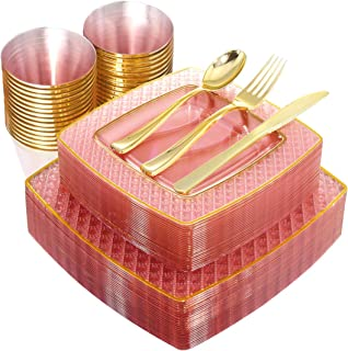 Nervure 150PCS Pink with Gold Sqaure Plastic Plates & Gold Silverware Set:25 Dinner Plates 9.5