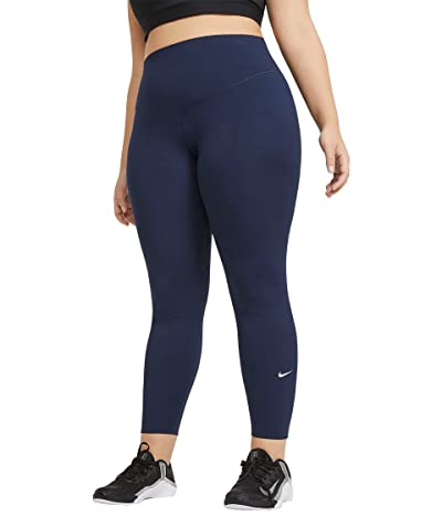 Nike One Mid-Rise Tights 2.0 (Sizes 1X-3X) (Obsidian/White) Women