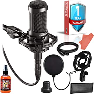 Audio-Technica AT2035 Cardioid Condenser Microphone Bundle with Shockmount, Pop Filter, 10-Ft XLR, Cleaning Kit and 1-Year Extended Warranty