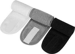 Richaa Pack de 3 diademas faciales de spa, cabeza de envoltura de maquillaje, diadema de tela de rizo ajustable con cinta ...