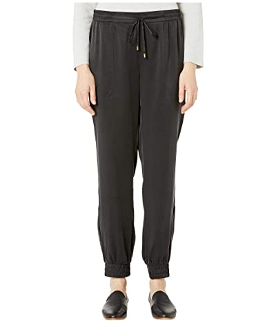 Eileen Fisher Sandwashed Silk Charmeuse Ankle Pants (Black) Women