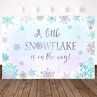 Mocsicka Winter Baby Shower Backdrop Snowflake is On The Way Background Winter Wonderland Snowflake Purple Blue Background 7X5ft Winter Baby Party Banner Decoration Photo Studio Props