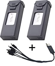XS816 Drone Battery+ 3.85V 1800mAh Lipo Battery Accessories for VISUO XS816 Foldable RC FPV Quadcopter Drone Accessories Spare Parts(2pcs)+5 in 1 Charger Cable