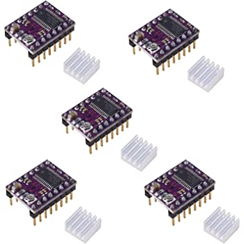 DRV8825 Stepper Motor Driver Module with Heat Sink for 3D Printer Rrerap Ramps 1.4 A4988 (Pack of 5pcs)
