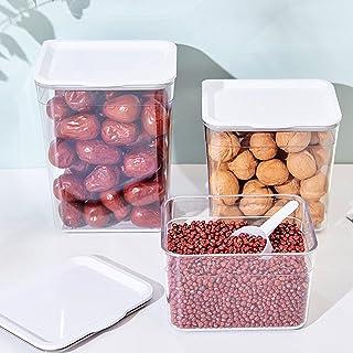 boite de rangement cuisine bocaux en plastique avec couvercle et cuillère SPRIME 3 pièces total 5 litres bocaux hermetique...