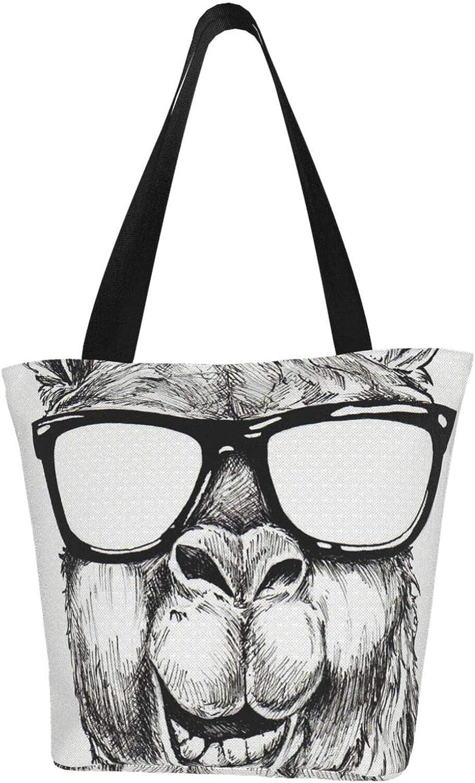 Llama Glasses Interesting Art Themed Printed Women Canvas Handbag Zipper Shoulder Bag Work Booksbag Tote Purse Leisure Hobo Bag For Shopping