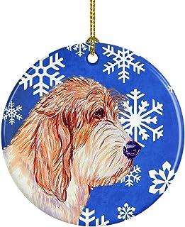 Caroline's Treasures LH9307-CO1 Petit Basset Griffon Vendeen Winter Snowflake Holiday Ceramic Ornament, Multicolor
