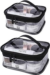 Estuche Transparente de Maquillaje PVC, 2 Pcs Impermeable Bolsa de Aseo Portátil Cosmético Organizador con Cremallera y As...