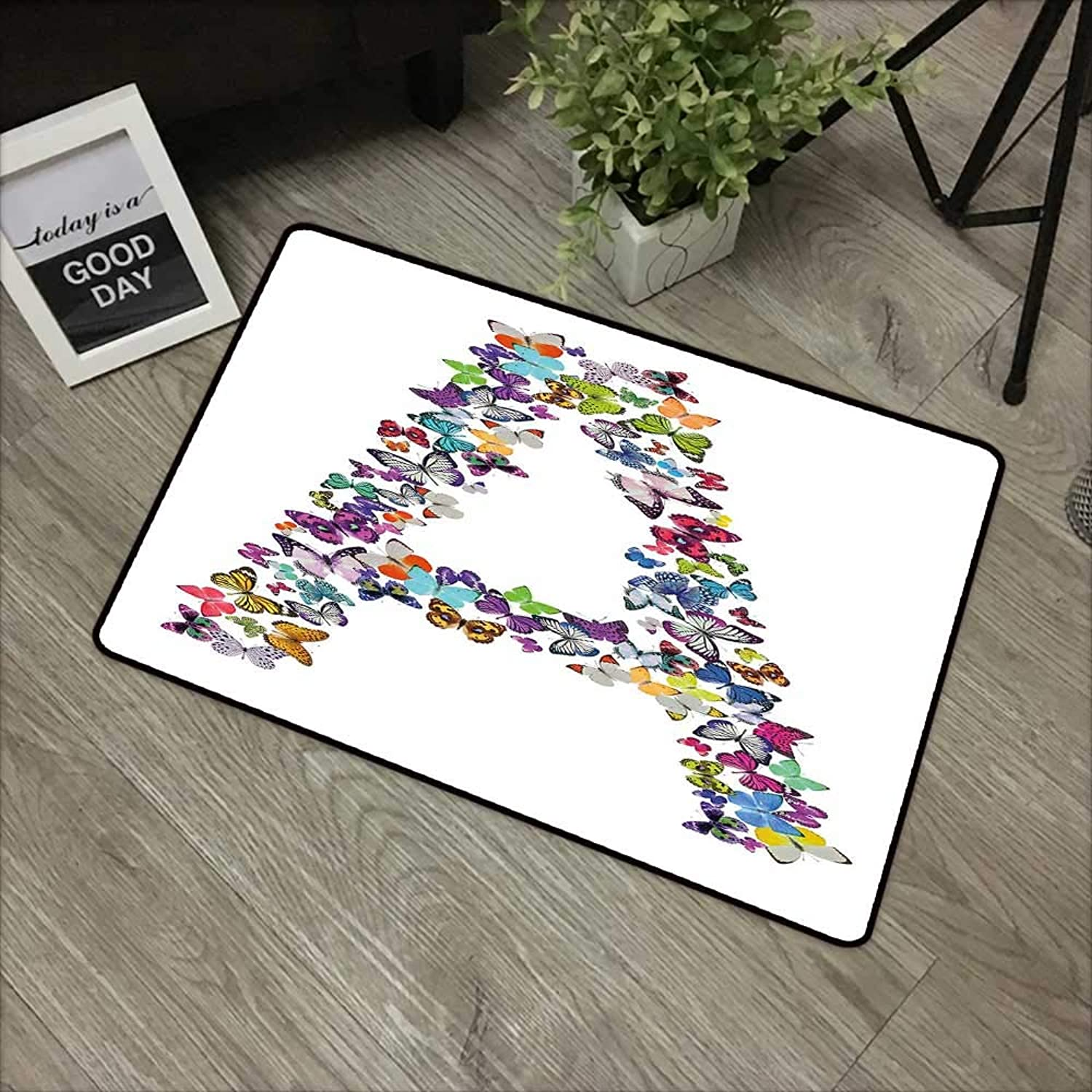 Restaurant mat W24 x L35 INCH Letter A,The First Letter of The Alphabet in Butterfly Form Nature ABC Multiple colors,Multicolor Non-Slip, with Non-Slip Backing,Non-Slip Door Mat Carpet