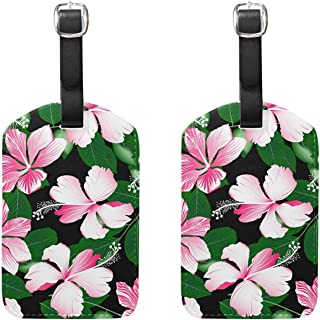Set of 2 Luggage Tags Flowers Tropical Plants Suitcase Labels Travel Accessories
