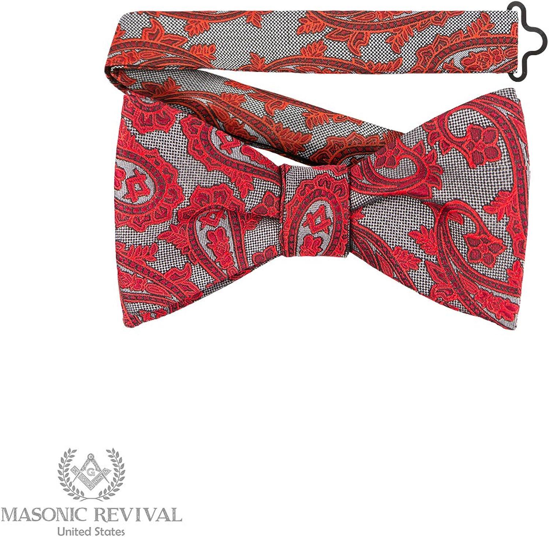 6eac5b3c03299 Grey Paisley Bow Tie by Masonic Revival Revival Revival (Pre-Tied) 8cb56a