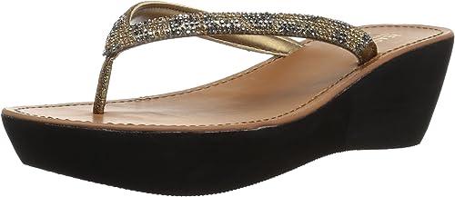 Kenneth Cole REACTION damen& 039;s Fine Sun Gltizy Platform Thong Sandal Wedge, Medal Gold, 8.5 M US