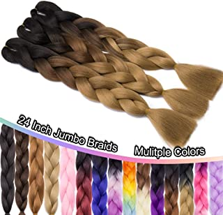 24 Inch Jumbo Braids Hair Extensions Ombre High Temperature Synthetic Hair African Rainbow Box Braiding Hair for Senegal Twist 100g/pack 3 Tones Black/Light Brown/Natural Blonde