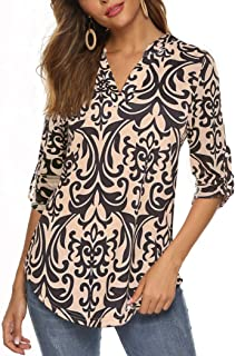 Women's Long Sleeve/Sleeveless Floral Print V Neck Henley Tops Blouse Shirts Tunic