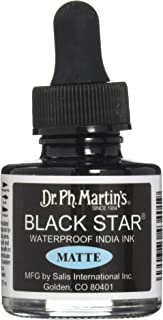 Dr. Ph. Martin's 400034-XXX Black Star India Ink ، 1. 0 أونصة، أسود، غير لامع