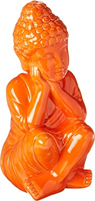 Yellow Urban Trends Collection 35402 Urban Trends Ceramic Sitting Buddha Figurine with Rounded Ushnisha and Head Resting on Knee Gloss Finish Yellow